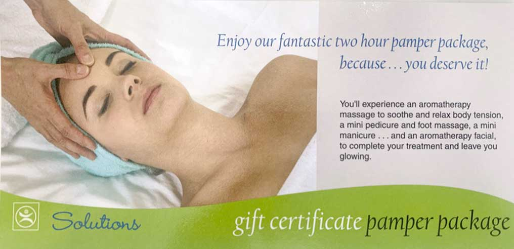 Solutions Health Gift Certificate - Pamper Package